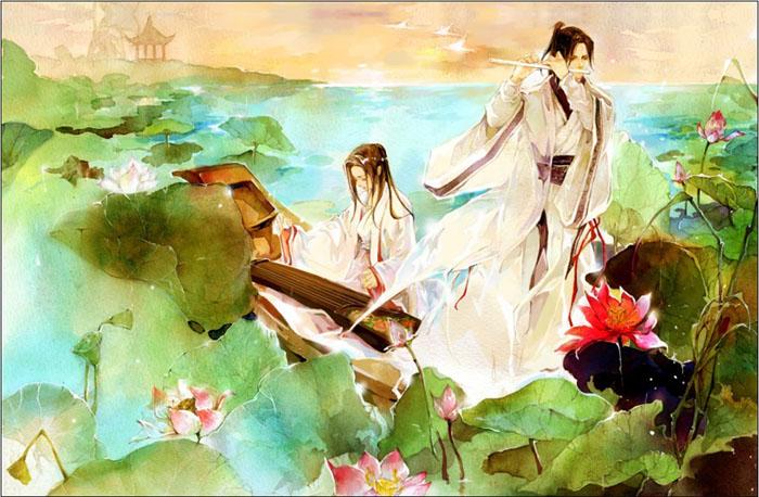 尽是伤心处 《飞逝的红巾》 纯音乐 古筝竹笛版