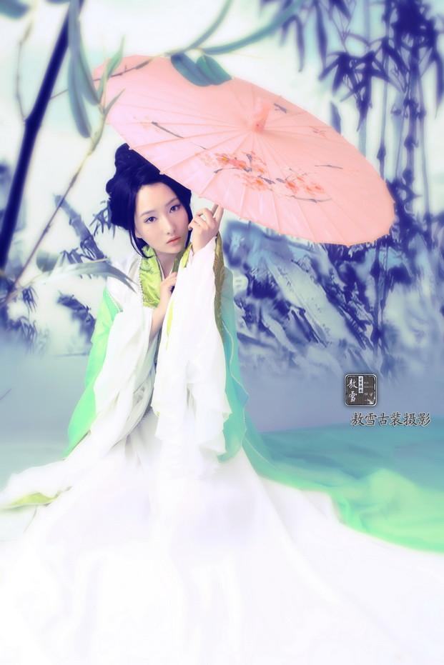 【人物】古典美女素材《绿衣天使》7P